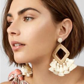 Fashionable bamboo and rattan braided geometric Pendant Earrings