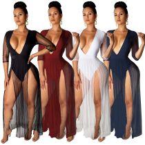 Deep V-neck net yarn half-sleeve legged dress