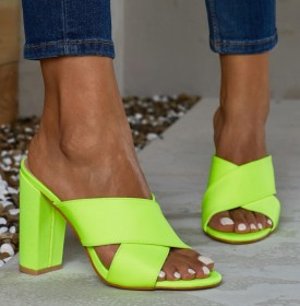 Rough high-heeled slippers fluorescent sandals
