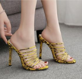 Sandals yellow serpentine ribbon Roman high-heeled slippers with female sandals