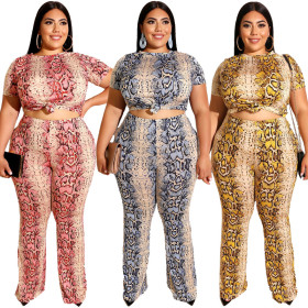 Serpentine printed tight T-shirt, straight trousers two-piece suit