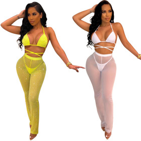 Yellow heavy gauze hot drill + white (non-drill) sexy gauze swimsuit three sets