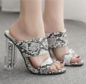 Fashion crystal heel sexy serpentine sandals with female slippers