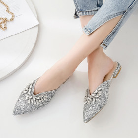 Sequined water drill flat bottom pointed slippers