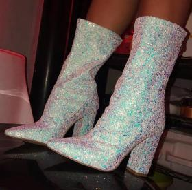 Sexy silver sequins pointed thick heel mid-boots