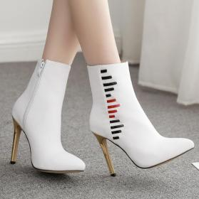 Fashionable white stiletto boots