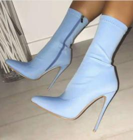 Elastic candy-colored pointed high-heeled mid-boots
