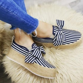 2019 Spring Women Flats Shoes Slip On Casual Ladies Canvas Shoes Bow Thick Bottom Lazy Loafers Female Espadrilles