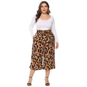 Lace-up high waist loose leopard-print casual trousers