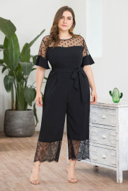 Mesh stitching casual pants with waist lace stitching wide legs