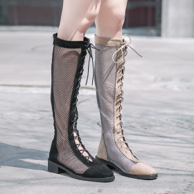 Hollow high boots with Roman heel sandals