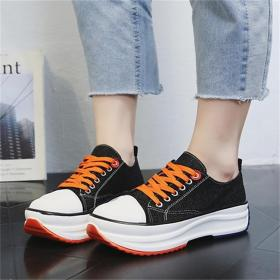 Thick-soled breathable canvas shoes
