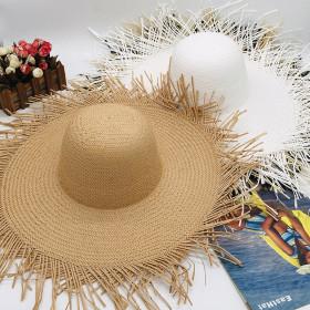 Wide Large Wide Brim Raffia Straw Hats Beach Fashion Summer Big Straw Sun Hat
