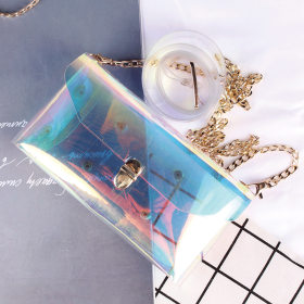 PVC transparent laser jelly phantom color single shoulder slanting bag