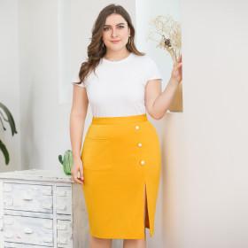 High waist pocket, hip split hem skirt