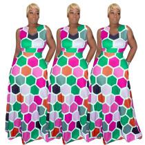 Fashion Geometric Printed Sleeveless Dresses