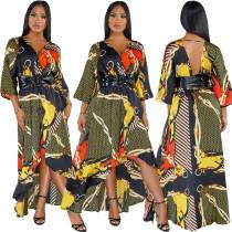 Satin printed V-neck dew-back dress