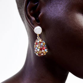 Coloured water droplets hanging full of drill Earrings