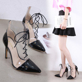 Tip straps for transparent slim-heeled bare boots