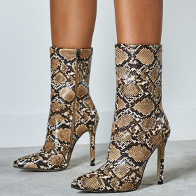 Slender high heel boots European and American serpentine boots