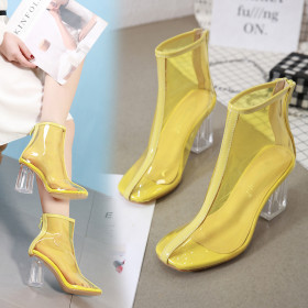 Crystal Coarse-heeled Transparent Rubber Coarse-heeled Sandals