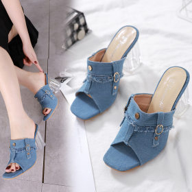 Crystal denim slippers, high-heeled fishmouth sandals
