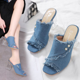 Crystal Denim Slippers, High-heeled Fishmouth Women's Shoes