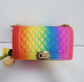 Rhombus single shoulder chain bag colourful frosted jelly bag