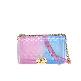 fashion summer beach bags for women crossbody shoulder bag colorful artificial leather jelly rainbow handbag bolso mujer B047