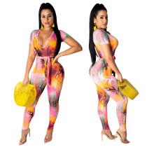 Sexy deep V-belt printed nightclub pants