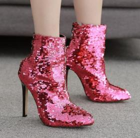 Rose sequined boots with high heels and slim heels