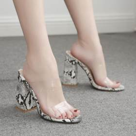 Rough high-heeled transparent sandals and slippers for women