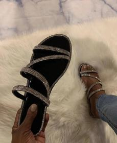Diamond flat-soled sandals and slippers