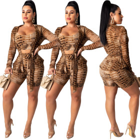 Snake-skin printed long-sleeved shorts vest three-piece set