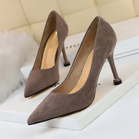 Fashionable and Simple Professional OL Women's Shoes with Fine heels, High heels, Suede Surface, Shallow Mouth, Point and Sexy Slim Shoes