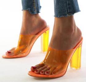 Large size crystal heel thick high-heeled PVC sandals
