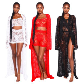 Lace-laced long-sleeved trousers suit 3 sets