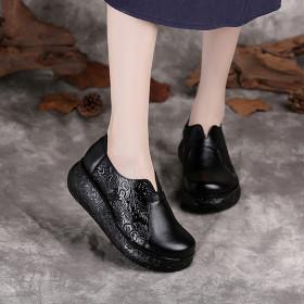 Ethnic style single shoe retro round head slope heel women's leather shoes