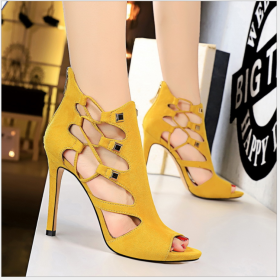 Slender riveted hollow sandals in European and American Roman style super high heel waterproof terrace suede sexy nightclub