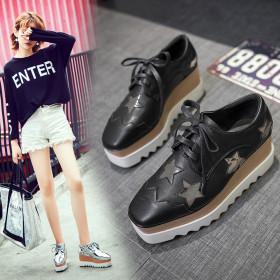 Korean version slope heel waterproof platform with star single shoe