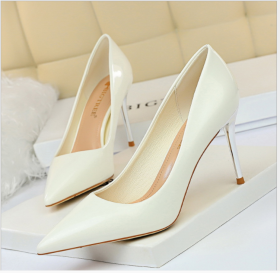 Simple metal heel, high heel, shallow mouth, pointed, sexy, thin, high-heeled women's single shoes