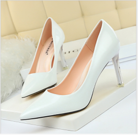Elegant slim high-heeled shoes transparent crystal heel high-heeled lacquer leather shallow pointed sexy women's single shoes
