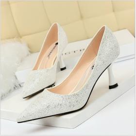 Fashion metal heels, high heels, shallow pointed sexy nightclubs, single shoes, high heels