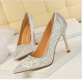 Fashion High-heeled Shoes Female Slender High-heeled, Shallow Point Sexy Banquet Show Slender Silk Satin Drill Single Shoes
