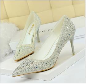 Fashion Wedding Shoes High-heeled Shoes Slim-heeled High-heeled Shoes Shallow-mouth Point Sexy Banquet Water Diamond Single Shoes