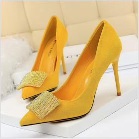 Sexy banquet women's slim-heeled high-heeled suede, shallow pointed shiny diamond shoes