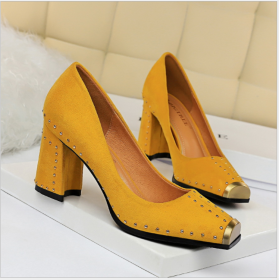 Fashion nightclub women's shoes with thick heels, high heels, metal square heads, shallow rivets, single shoes and high heels
