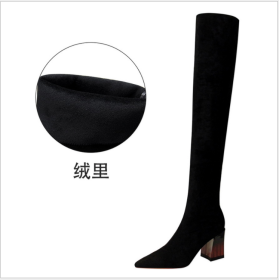 European and American fashion simple thick heel high heel suede pointed sexy nightclub slim over knee boots