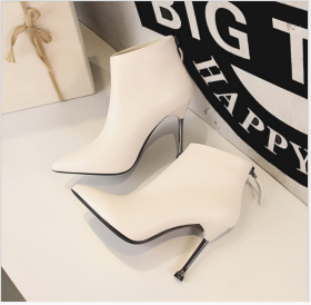 Euro-American fashion simple high heel pointed retro short boots sexy nightclub slim boots