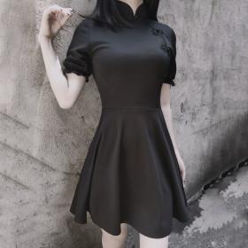 Diablo retro improved cheongsam dress Lolita high-waisted Lantern Sleeve wearing a small black dress